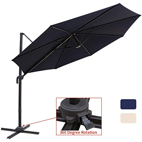 - Patio Offset Cantilever Umbrella 10-Feet Outdoor Patio Hanging Umbrella,360 Degree Rotation with Cross Base (10 FT, Navy Blue)