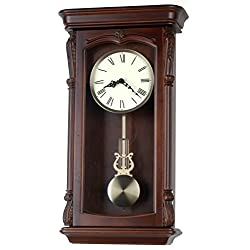26-inch Solid Wood Walnut Pendulum Wall Clock with Westminster Chime and strike An Hourly, Night off - P00041