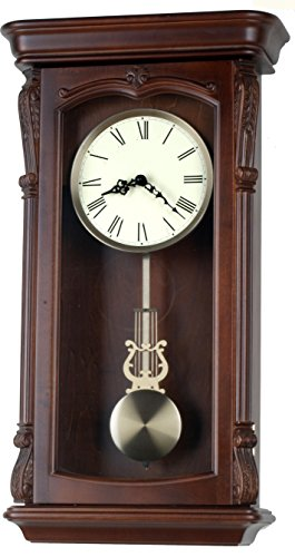 26-inch Solid Wood Walnut Pendulum Wall Clock with Westminster Chime and strike An Hourly, Night off - P00041 (Wall Regulator Schoolhouse Clock)