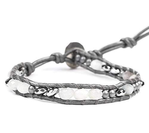 Chan Luu Aqua and Grey Mix Semi Precious Mineral Stone Beaded Leather Single Wrap Bracelet