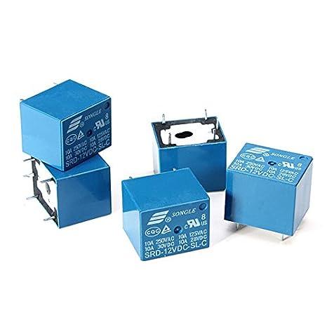Bluelover 10 St/ücke SONGLE Mini 12 V DC Power Relais SRD-12VDC-SL-C PCB Typ