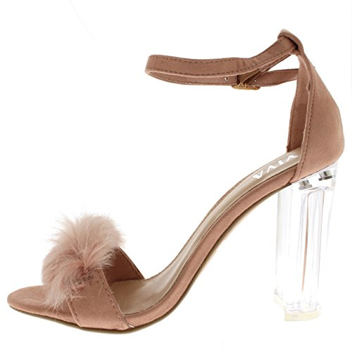 Viva Womens Fluffy Glass Block Heel Party Cut Out Fashion High Heels Pumps - Pink KL0281G 6US/37 by Viva (Image #3)