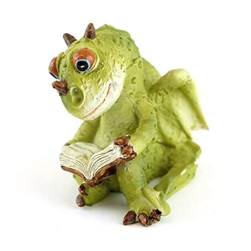 Top Collection Miniature Garden Dragon Reading Book