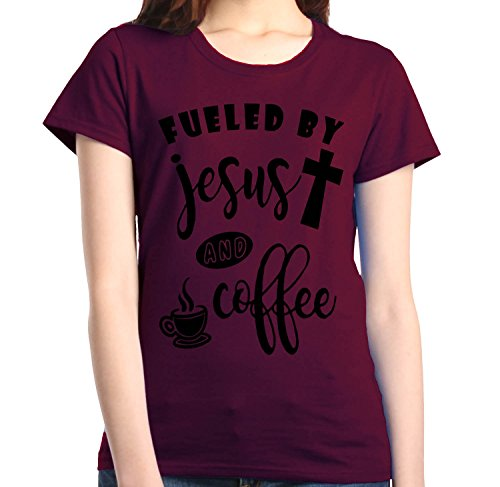 Shop4Ever Fueled by Jesus and Coffee Women's T-Shirt XX-LargeMaroon0