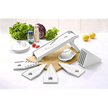 Mandoline Slicer - Vegetable Slicer - Food Slicer - Vegetable Cutter - Cheese Slicer - Vegetable Julienne Slicer with Surgical Grade Stainless Steel Blades (White)