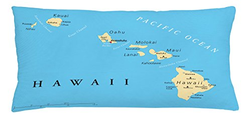 Hawaiian Throw Pillow Cushion Cover by Lunarable, Map of Hawaii Islands with Capital Honolulu Borders and Important Cities, Decorative Square Accent Pillow Case, 36 X 16 Inches, Blue Ivory - Fashion Island Map Store