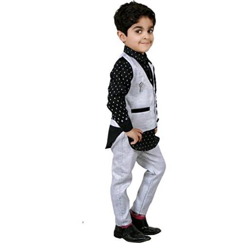 41bLyFIbLPL. SS500  - AHHAAAA Boy's Cotton Waistcoat Shirt and Pant Set for Kids