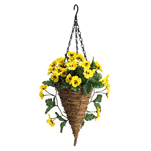 OakRidge Fully Assembled Pansy Cone Basket, Yellow - Artificial Polyester/Plastic Florals for Indoor and Outdoor Use - 20