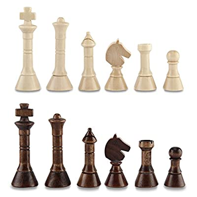 "Amerous Chess Pawns Wooden Chessmen with 3.55"" King Nature Wood Chess Pieces Hand Carved Figure Figurine, Elegant Style Big"