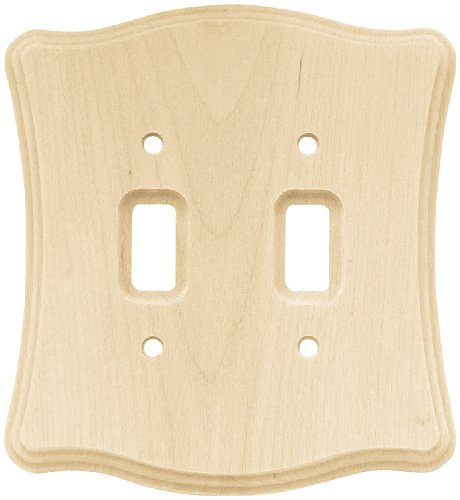 Franklin Brass 64631 Wood Scalloped Double Toggle Switch Wall Plate/Switch Plate/Cover, Unfinished