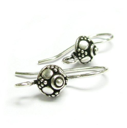 2 pcs .925 Sterling Silver Bali Flower Shield French Hook Earwires Earring Connector / Findings / Antique Earwires Flower
