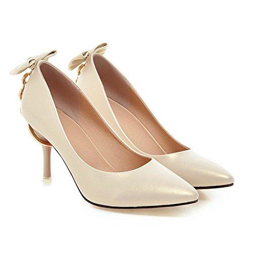AllhqFashion Damen PU Rein Spitz Schließen Zehe Stiletto Pumps Schuhe Aprikosen Farbe