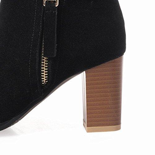 Mee Shoes Damen Blockabsatz Nubukleder runde Stiefel Schwarz