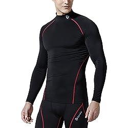 TM-T11-BKRZ_Large Tesla Men's Cool Dry Compression Baselayer Mock Long Sleeve T Shirts T11