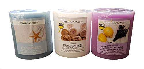 Luminessence(tm) Assorted Scented Pillar Candles, 3 Pillar Candles in Each Pack -Wonderful Aroma - Long Lasting - Inexpensive - Lavender & Lemon Scented, Soy Wax Candles (Lavender, Seaside, Linen)