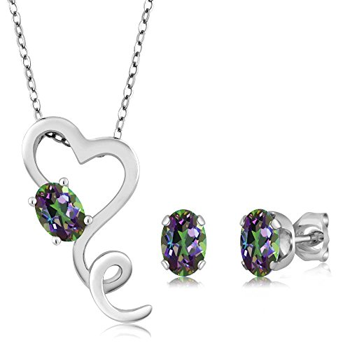 2.45 Ct Mystic Topaz Heart Pendant Earrings 925 Silver Set With 18
