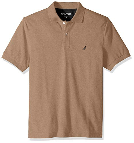 Nautica Men's Classic Short Sleeve Deck Polo Shirt, Desert Camel Heather, Medium