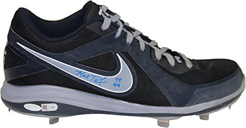 61f4cfb1c08b06 Mark Teixeira Signed 2014 Game Used Navy Blue and Grey Metal Cleat (MLB  Auth) Size  13.5