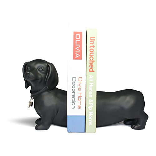 Danya B. NY8026B Unique Decorative Expandable Dachshund Bookend Set for Dog Lovers- Black (Accessories Dachshund Decorative)