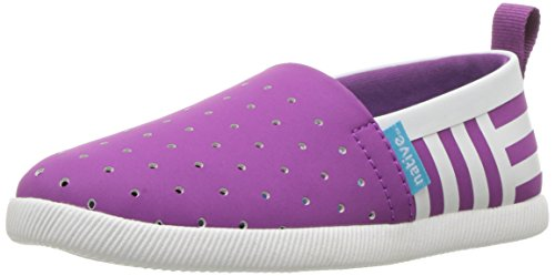 Native Shoes Girls' Venice Print Slip-On, Black/Purple White/Shell Stripes, 8 M US Toddler ()