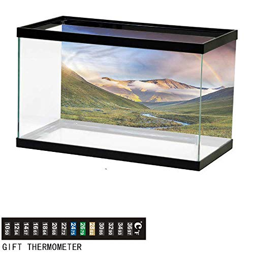 bybyhome Fish Tank Backdrop Landscape,Meadow Riverbed Mist,Aquarium Background,24