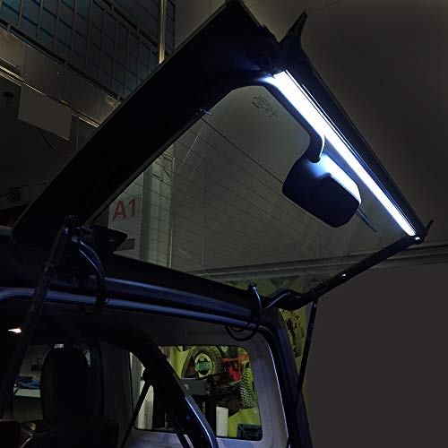 - MAIKER Rear Liftgate LED Light Bar for Jeep Wrangler JL Rear Glass Lift Gate Dome Light for Camping, Fishing, Tailgating and more