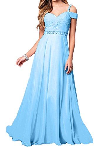 Blau Ballkleid Chiffon Festkleid Linie Lang Elegant Partykleider A Abendkleider Damen Ivydressing 4xZwqCR