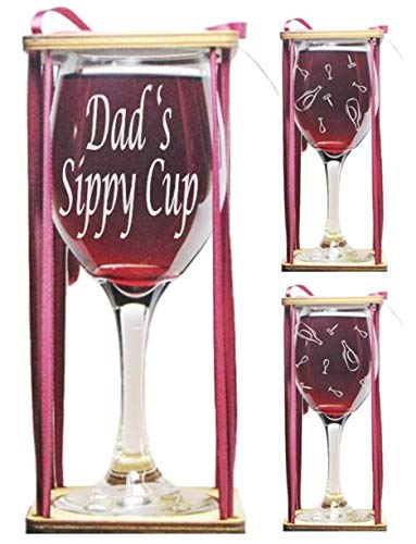 Dad's Sippy Cup 360 Degrees Engraved Wine Glass with Charm