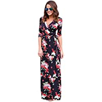Hot Sale ! Beautiful Women V Neck Boho Print Long Dress, Ninasill Exclusive Maxi Evening Party Beach Dress Floral Sundress (XL, Black)