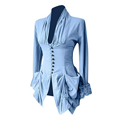 Aniywn Women's Medieval Vintage Tops Blouse Long Sleeve Lace Trim Irregular Button Up Tunic Shirt Blue