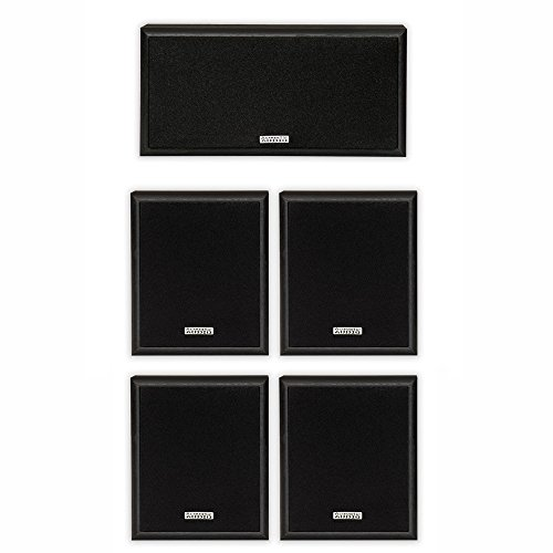 Acoustic Audio 4 Bookshelf Speakers and Center Speaker 5 Pie