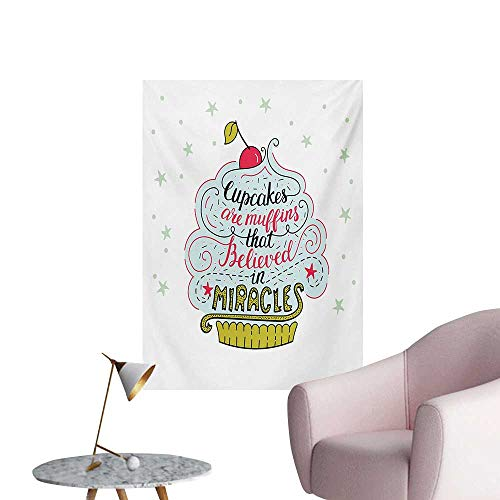 Anzhutwelve Funny Words Poster Wall Decor Artful Cupcake Motif with Cherry on Top Believe in Miracles Phrase Bakery ThemeMulticolor W24 xL36 Wall Poster