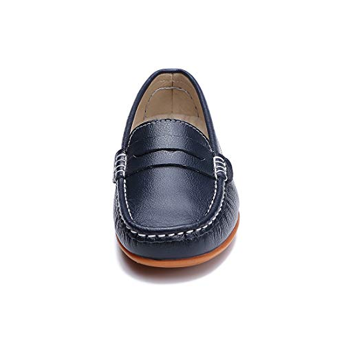 SUNROLAN Genuine Casual 858 On Shoes blue Loafers Driving Moccasins Penny Boat Leather Women's Flats Slip rRrqw1H