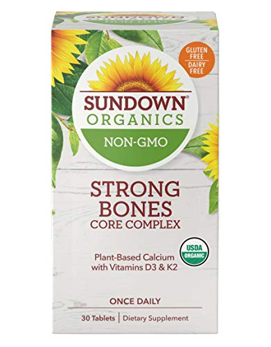 Sundown Organics Strong Bones Core Complex, Plant-Based Calcium Supplement with Vitamin D3 and K2, Gluten Free, 100% Non-GMO, 30 Tablets