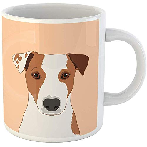 Funny Gift Coffee Mug Colorful Face Jack Russell Terrier the Buddy Dog Head Animal Outline Bark Graphic 11 Oz Ceramic Coffee Mug Tea Cup Souvenir
