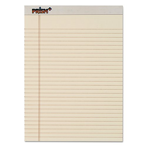 TOPS Prism Plus 100% Recycled Legal Pad, 8-1/2 x 11-3/4 Inches, Perforated, Ivory, Legal/Wide Rule, 50 Sheets per Pad, 12 Pads per Pack (63130) ()