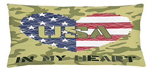 Lunarable National Throw Pillow Cushion Cover, Heart Shaped American Flag and Grunge Style Illustration Patriotic Art, Decorative Rectangle Accent Pillow Case, 36