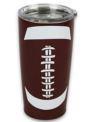 KnitPopShop Football Tumbler 20oz Cup Gift for Mom Men Sports Coach Travel Coffee Mug, Stainless Steel (20oz, Football)