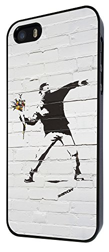 iphone 5C Banksy Grafitti Art Wall Flower Thrower Funky Design Fashion Trend Hülle Case Back Cover Metall und Kunststoff