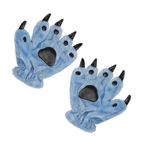 [Unisex Adults Kids Cartoon Animal Dinasour Bear Panda Cat Paw Claw Hand Gloves Halloween Fancy Party Cosplay Costume Props Mittens Winter Warm Plush Gloves Gift for Women Men Boys Girls] (Lobster Claw Costume Accessory)
