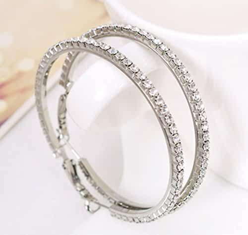 Women's Silver Plated Austria Crystals Big Round Hoop Earrings-2inch