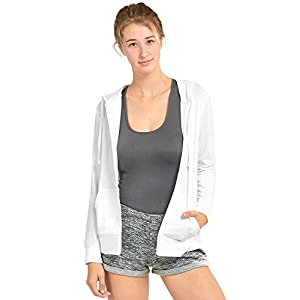 Sofra Women's Thin Cotton Zip-Up Jacket With Hoodie (L, White)