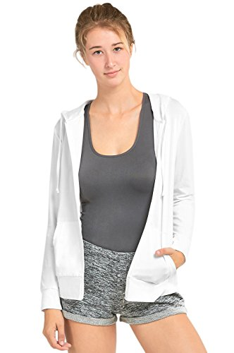 (Sofra Women's Thin Cotton Zip Up Hoodie Jacket (XL, White))
