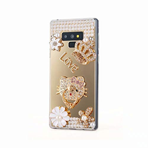 9 Case,Galaxy Note 9 Mirror Cover,Ring Holder Function Luxury Pearl Bling Glitter Diamond Crystal Rhinestone Imperial Crown Flowers Design Phone Case with Lanyard,NO2 ()