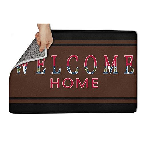 23.5 X 15.5 Inch Doormat Georgia Welcome Home Soft Door Mat Printed Indoor Outdoor Home Door Mats Microfiber Surface Non-Slip PVC Bottom Floor Mat Carpet Runner Rug