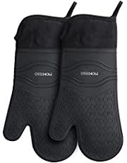 GEEKHOM Oven Gloves, Heat Resistant Silicone Oven Mitts Non Slip Waterproof Long Kitchen Gloves for Pizza Oven Potholders Cooking Baking Barbecue Grilling Microwave, Black (15 inch)