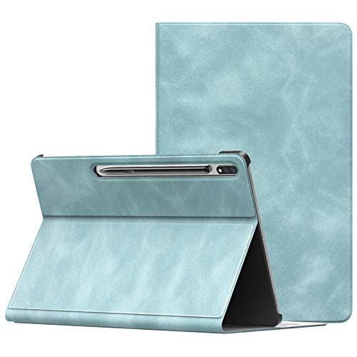 """MoKo Case Compatible with Samsung Galaxy Tab S7 Plus 12.4"""" 2020 SM-T970/976/T975, Lightweight Anti-Slip Stand Folio Cover Smart Shell with Auto Wake/Sleep Fit Galaxy Tab S7 Plus 2020, Cloud Blue"""