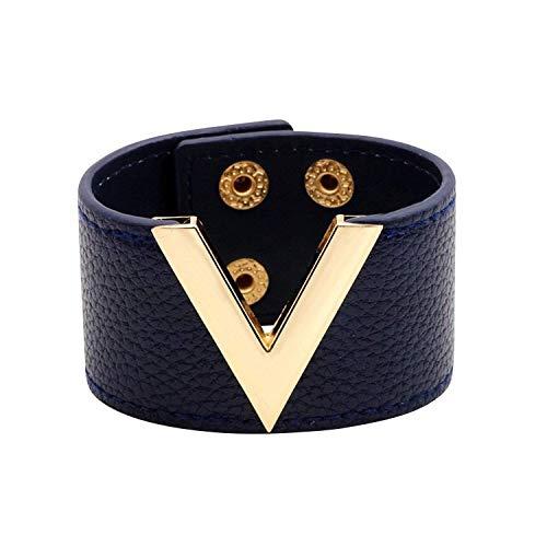 Designer Inspired Wide Cuff Leather Wrap Bracelet V Shape 21cm 8 inch Length (Navy ()