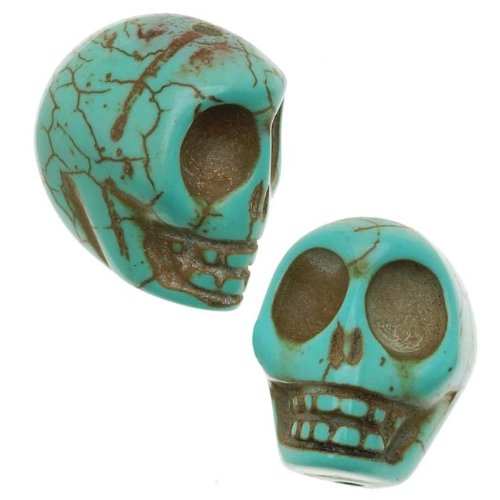 Beadaholique SPMA-82 10 Turquoise Magnesite Carved Skull Gem Beads, 14mm x 18mm