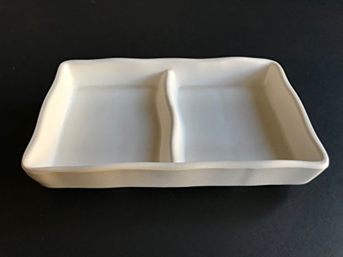 """Lucky Star Melamine 2-Compartment Divided Soy Sauce Dishes Wasabi Sushi Sashimi Rectangular Plastic Dipping Plates, 5-1/8"""" X 3-1/8"""", Off-White (12)"""